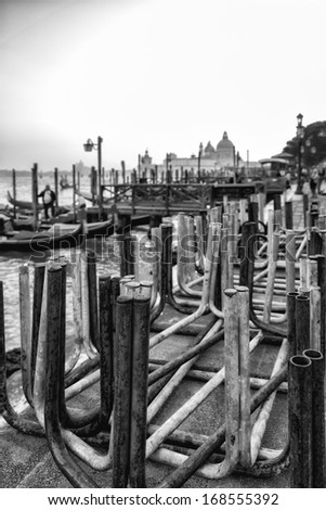 Footbridges in Venice. Black and White - stock photo