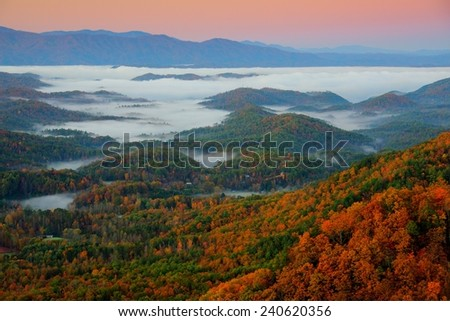 Foothills Parkway in Great Smoky Mountains National Park at Sunrise - stock photo