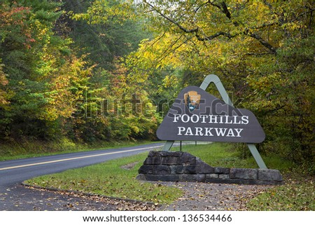 Foothills Parkway in the Fall - stock photo
