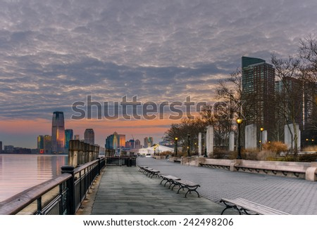 Footpath at Battery Park at Dawn, New York - stock photo