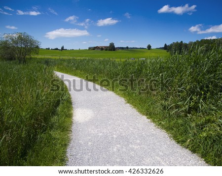 footpath by the Hopfensee, Bavaria, Germany