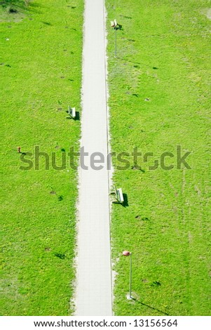 footpath from above - stock photo