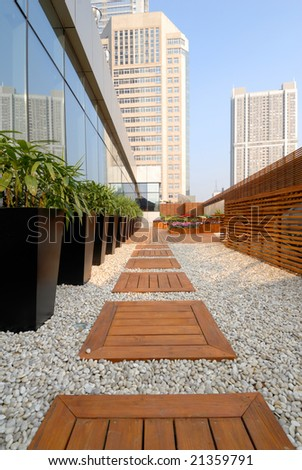 footpath in the roof-garden - stock photo