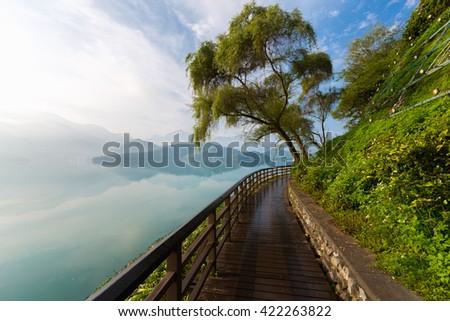 Footpath of Sun Moon Lake at dawn, Taiwan - stock photo