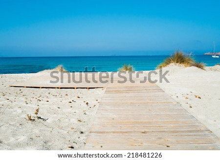 Footpath on Le Dune baech in Teulada, south of Sardinia, Italy - stock photo