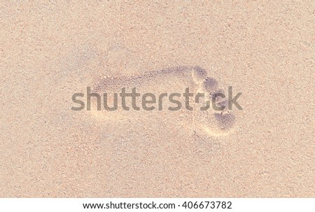 Footprint in the sand of the beach, Vintage style