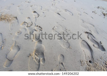 footprint of human in sandy on the beach - stock photo