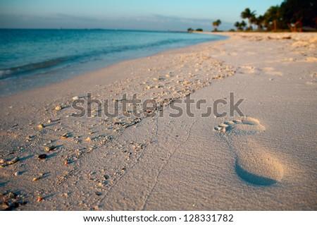 Footprint on sand of Sombrero Beach, Marathon Island, Florida Keys, USA. - stock photo