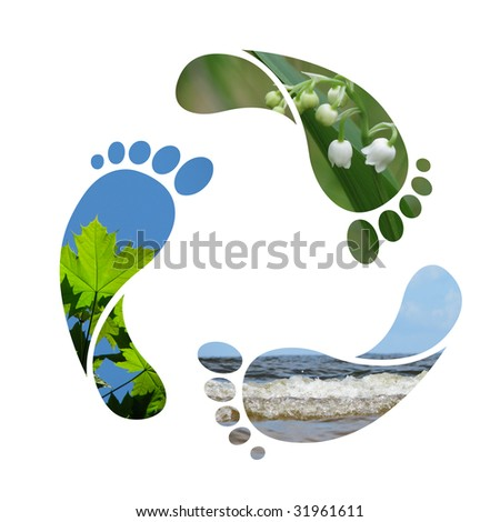 Footprint recycle sign - stock photo