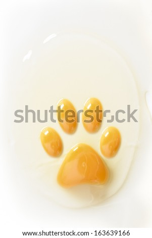 Footprint shaped raw egg yolk - stock photo