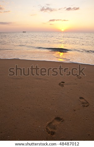 Footprints coming towards the Camera, out of the sea - stock photo