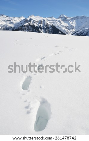 Footprints in the deep snow. Switzerland - stock photo