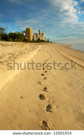 Footprints in the sand lead the way to Surfers Paradise Gold Coast Australia just after dawn. - stock photo