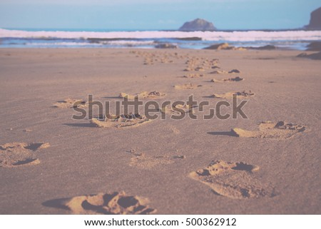 Footprints in the sand on Polzeath beach, Cornwall Vintage Retro Filter.