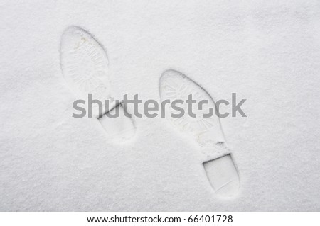 Footprints in the snow, winter concept