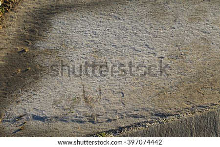 Footprints isolated on the ice and rock - stock photo