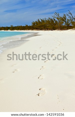 footprints on the beach on deserted island, bahamas - stock photo