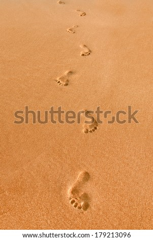 Footprints on the sand - stock photo