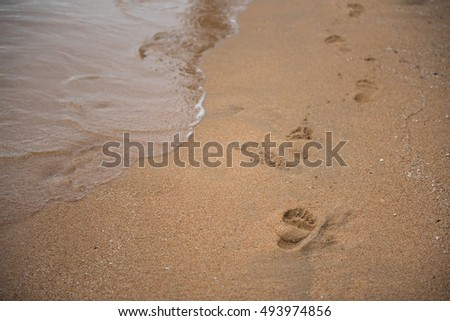 Footprints on the sand beach. Background