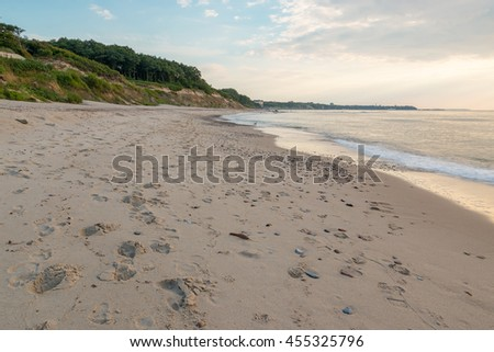 Footprints on the seashore at the evening
