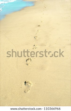 Footprints trail in wet sand of beach in sunny day - stock photo