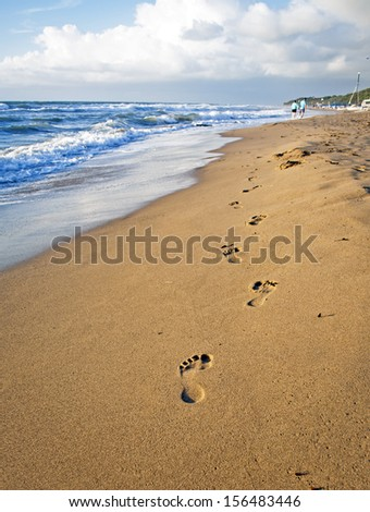 Footsteps on the Beach in Italy (Tuscany)