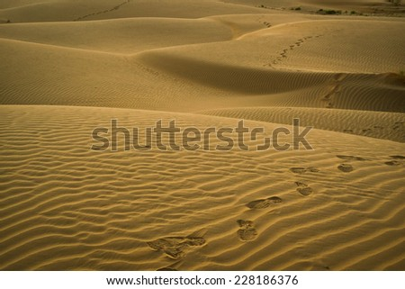 Footsteps on the  dunes at sunset in the desert near Jaisalmer, Rajasthan, India - stock photo