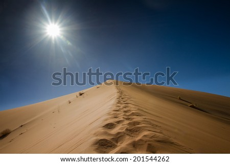 Footsteps on the top of the sand dune, Sossusvlei, Namibia - stock photo