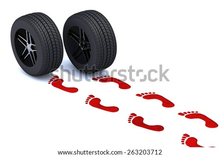 footsteps walking with tires, 3d illustration - stock photo