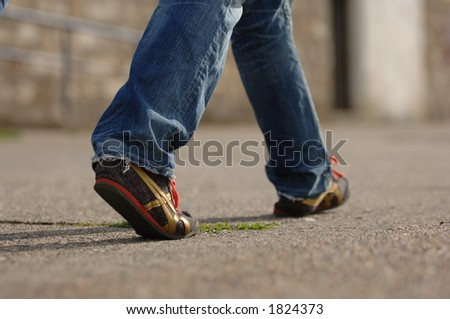 Footwear on the march - stock photo