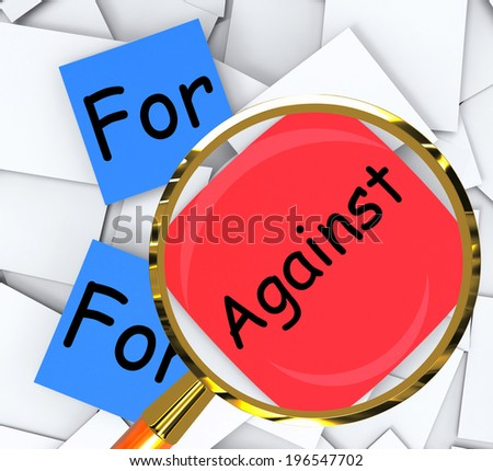 For Against Post-It Papers Meaning Pros And Cons - stock photo