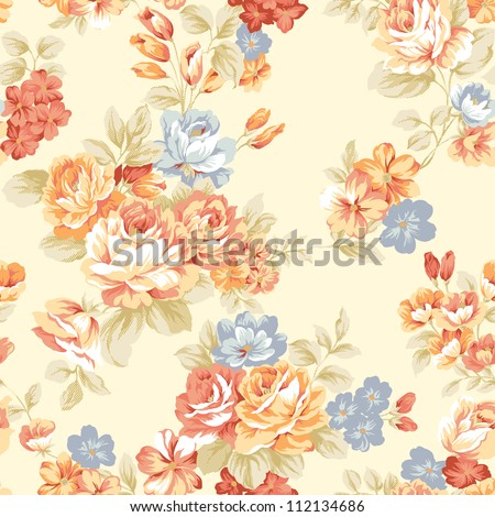 For easy making seamless pattern use it for filling any contours - Intense red color rose seamless pattern - stock photo