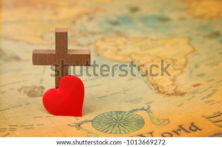 God loved world cross on rustic stock photo download now royalty for god so loved the world a cross on a rustic world map gumiabroncs Image collections