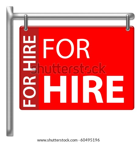 For Hire Sign in red color - stock photo