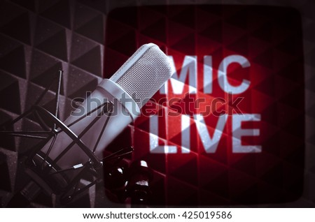 for radio and TV microphone live - stock photo