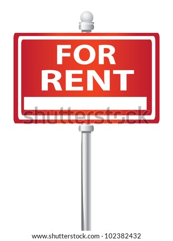 For rent signpost on white background - stock photo