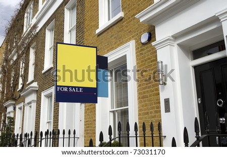 For sale house in London's Chelsea streets. - stock photo