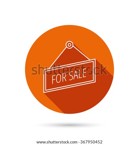 For sale icon. Advertising banner tag sign. Round orange web button with shadow. - stock photo