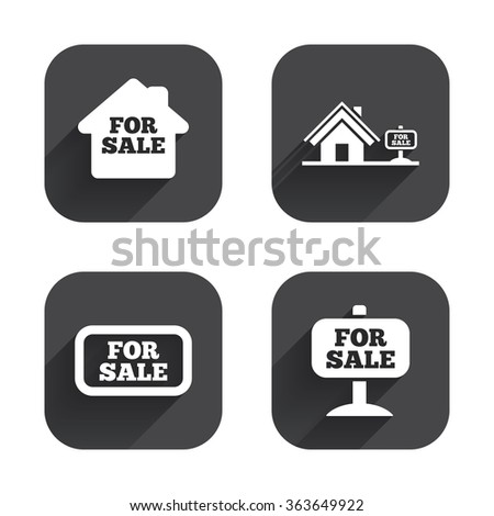 For sale icons. Real estate selling signs. Home house symbol. Square flat buttons with long shadow. - stock photo