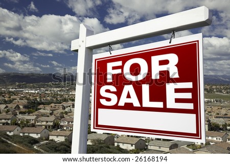 For Sale Real Estate Sign with Elevated Housing Community View - Ready for your own message. - stock photo