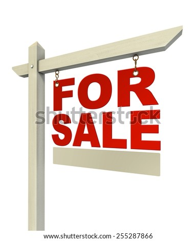 for sale red real estate sign only with letters  isolated on white background - stock photo