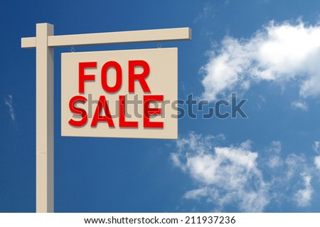 For Sale Sign. Digitally Generated Image. 3D Rendering - stock photo