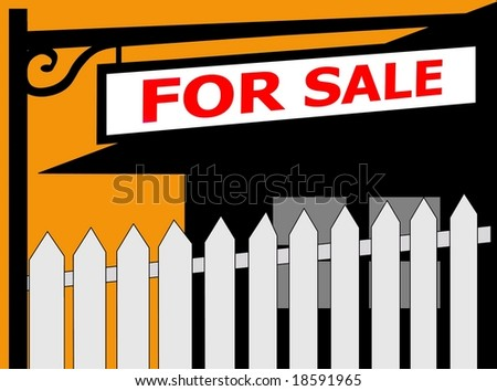 FOR SALE sign fence and house - stock photo