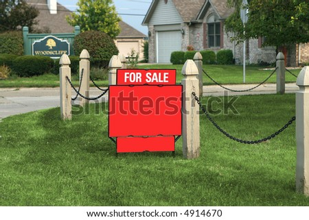 for sale sign in front yard - stock photo