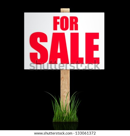 For sale sign Isolated on black background High resolution 3d render - stock photo