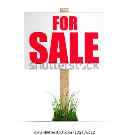 For sale sign Isolated on white background High resolution 3d render - stock photo