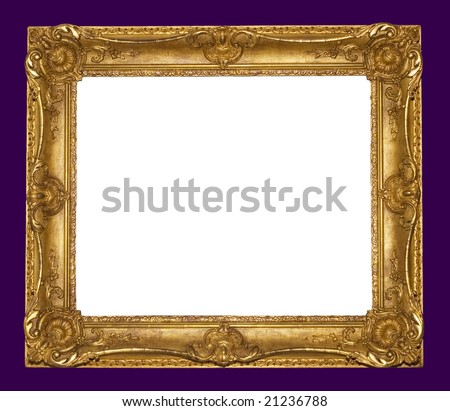 foral gold frame - stock photo