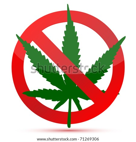 Forbidden cannabis red and green illustration design isolated over a white background - stock photo