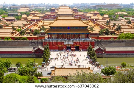 Forbidden City In Beijing From Above China At The Imperial North Gate