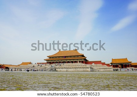 Forbidden city in Beijing with blue sky, China - stock photo